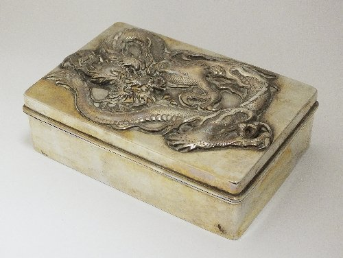 A Chinese white metal box, stamped to the base 'WH90',