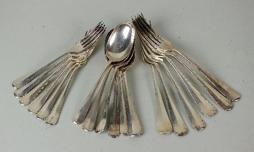 A part set of Hanoverian silver flatware, Gee & Holmes,
