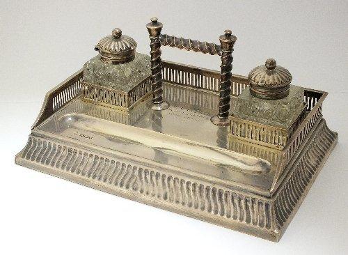 A Victorian silver desk stand, Martin, Hall & Co,