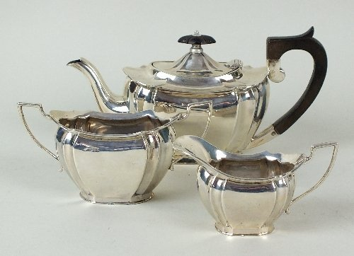 A three piece silver tea service, Frank Cobb & Co Ltd,