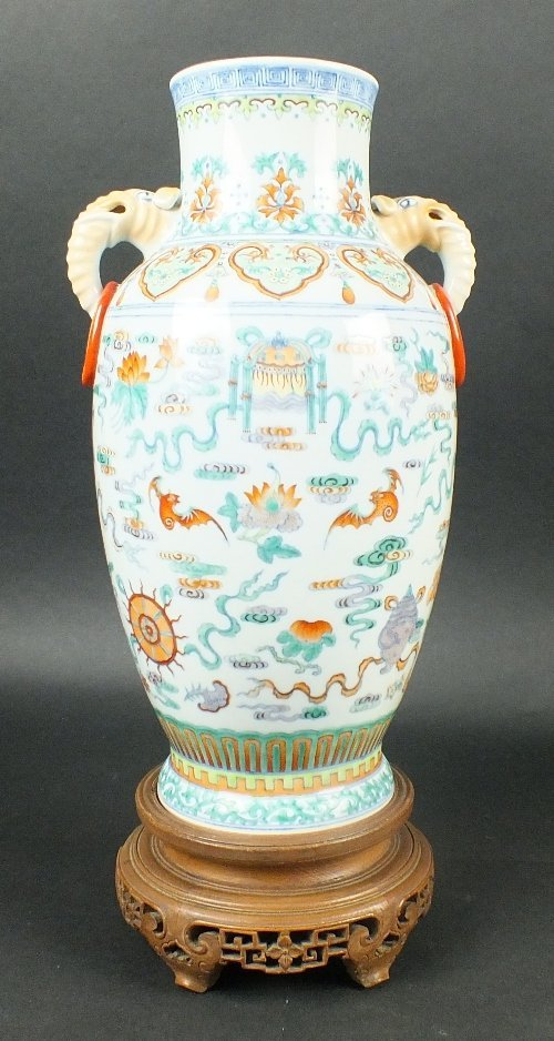 A Chinese porcelain doucai two handled vase with