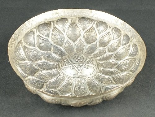 An Ottoman silver shallow bowl, 18th/ 19th century, the
