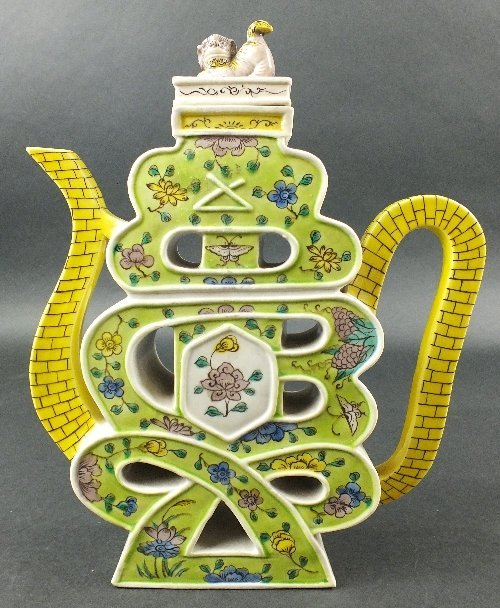A Chinese famille verte porcelain shou character teapot