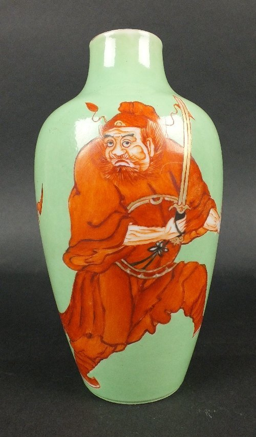 A Chinese ovoid green ground vase, decorated with an