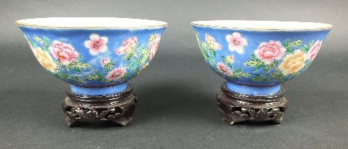 A pair of Chinese famille rose porcelain bowls with
