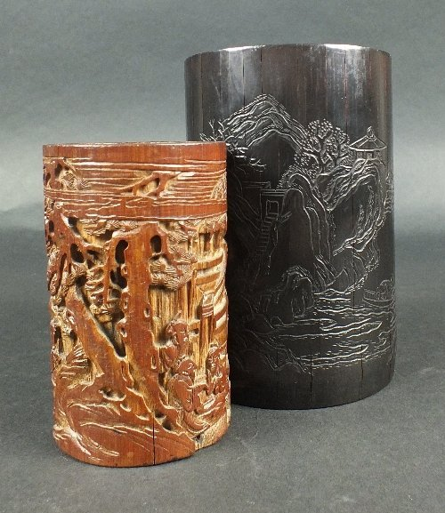 Two Chinese bamboo brushpots, late Qing dynasty, the