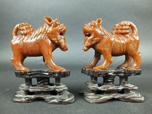 A pair of Chinese amber coloured standing lion dogs