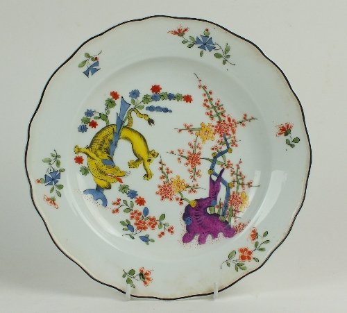 A Meissen Kakiemon porcelain plate, outside decorated,