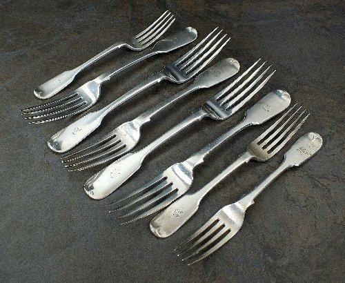 A part set of Victorian Fiddle pattern silver flatware,