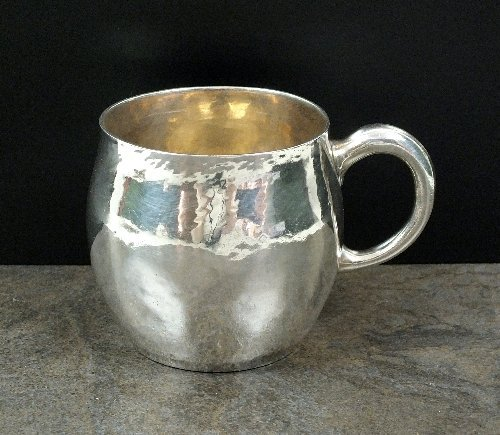 A hammered silver Christening mug, Crichton Brothers,