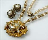 A Miriam Haskell simulated baroque pearl and paste set