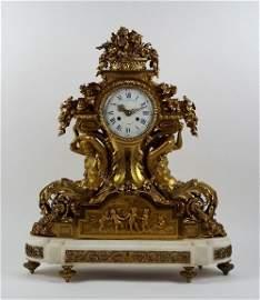A French mid-19th century ormolu figural mantel clock