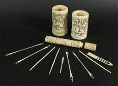A Chinese Canton export ivory needle case and cover