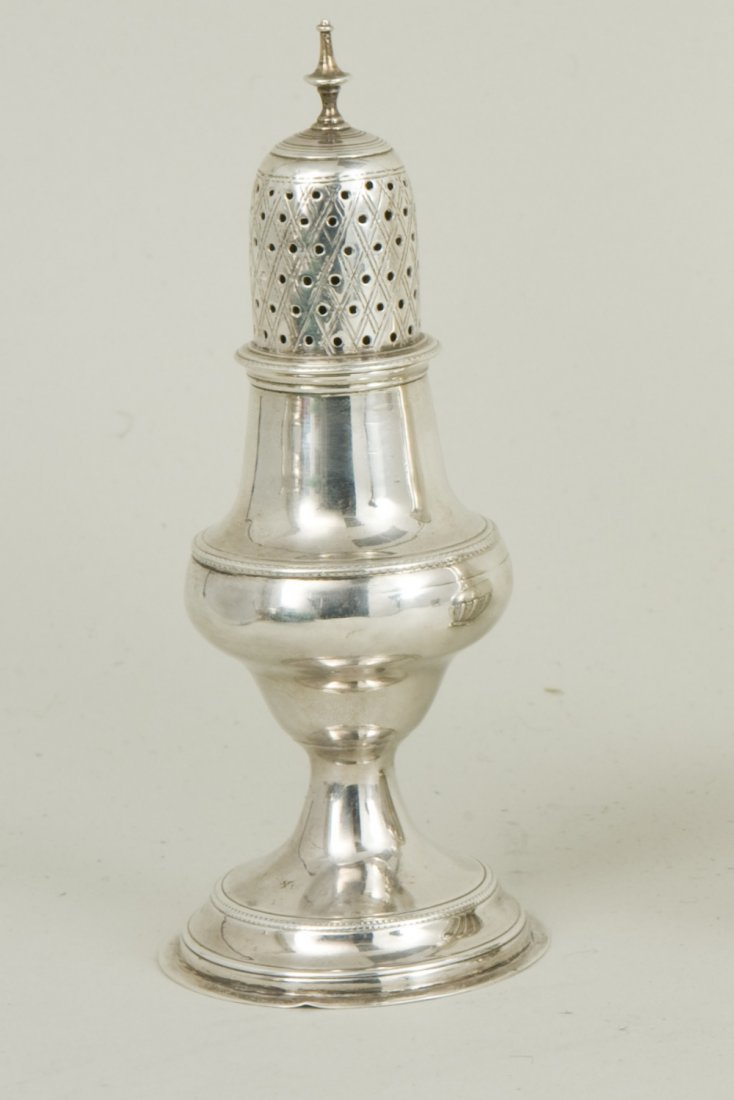 A George III hallmarked silver caster London 1790, by