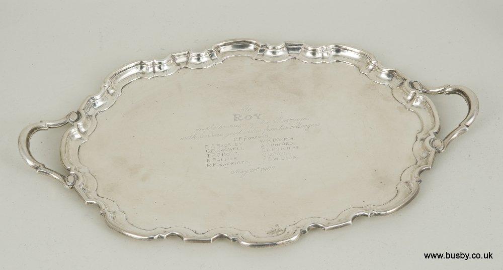 A George VI hallmarked silver serving tray, Sheffield