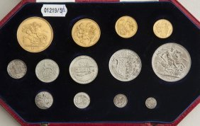 A 1902 long set proof, Five pounds, two pounds,