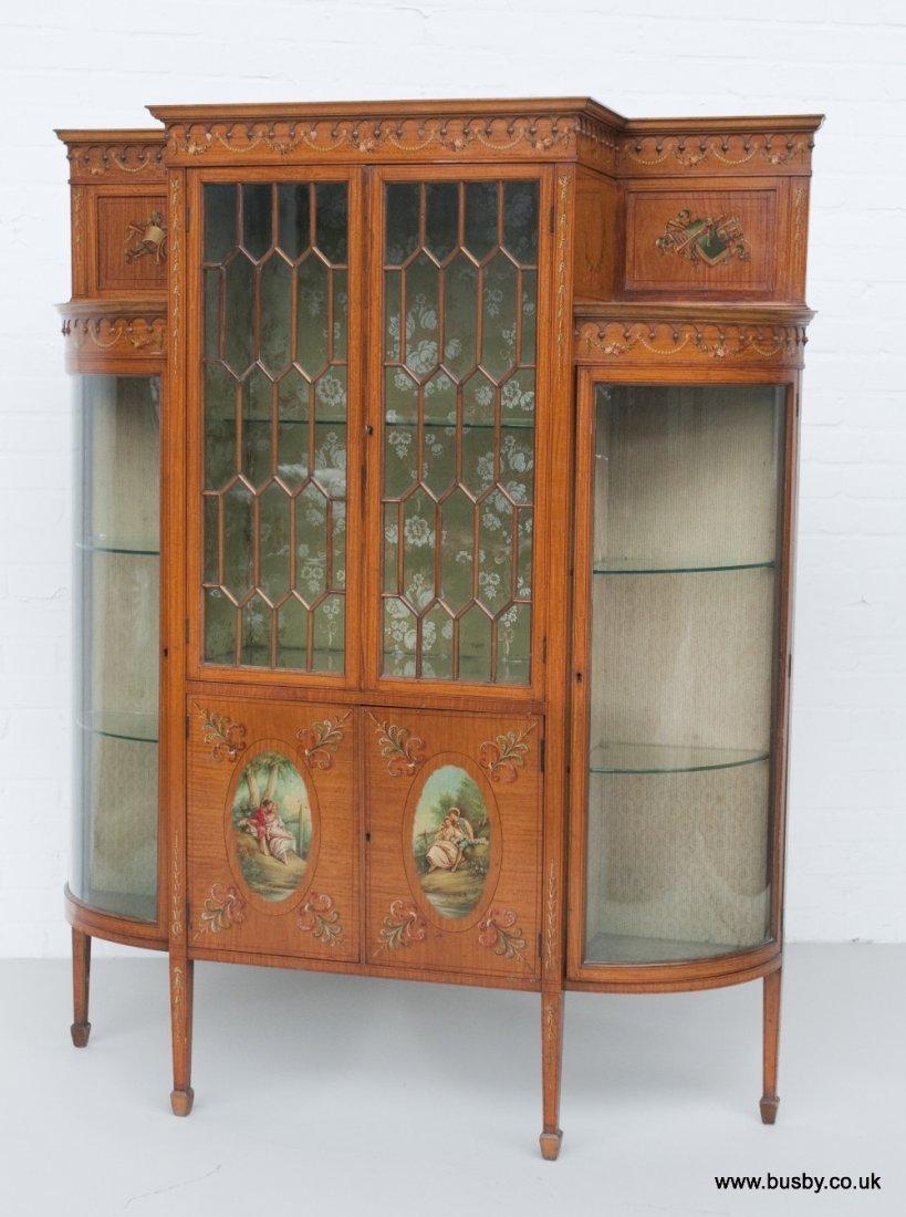 A satinwood Edwardian Sheraton style display cabinet