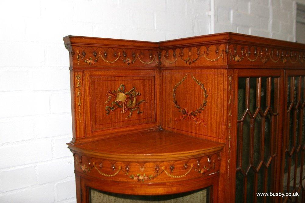 A satinwood Edwardian Sheraton style display cabinet - 6