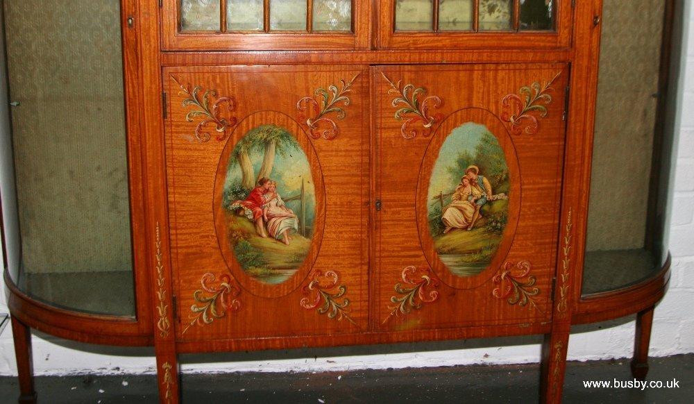 A satinwood Edwardian Sheraton style display cabinet - 7