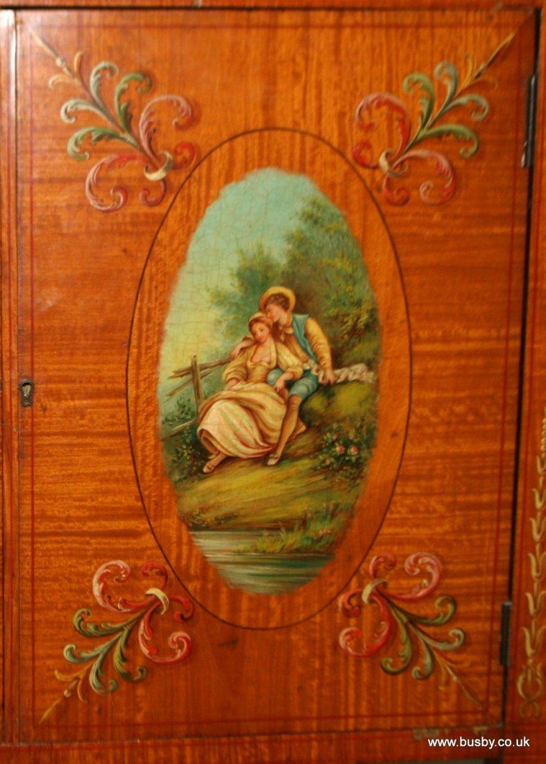 A satinwood Edwardian Sheraton style display cabinet - 8