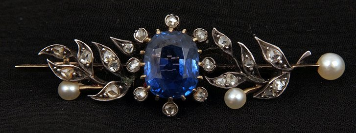 A Victorian rose diamond and pearl brooch with central