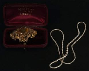 A seed pearl single row necklace, and a citrine