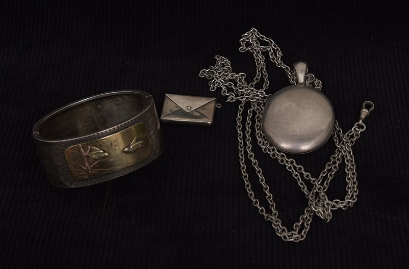 A Victorian Aesthetic style silver stiff bracelet with
