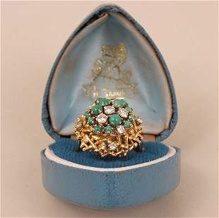 An 18ct gold diamond and turquoise dress ring,