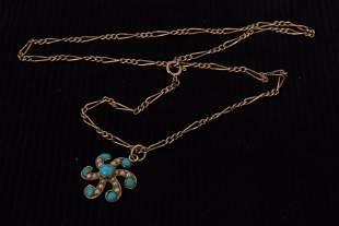 An Edwardian 15ct gold turquoise and pearl pendant with