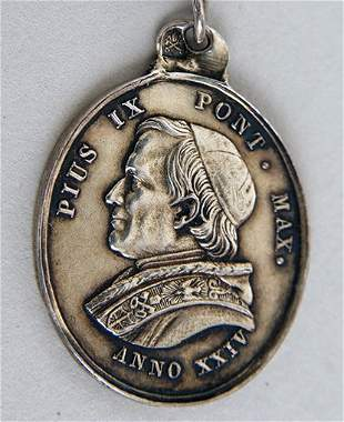 Pope Pius IX - (1792 - 1878) A silver and coral