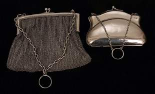 Continental silver mesh purse with chain and ring
