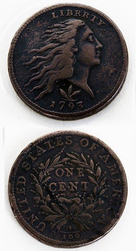 U.S.A., One Cent, 1793, Liberty head right, three-leaf