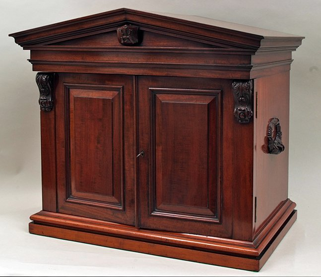 An early Victorian mahogany collector's cabinet of