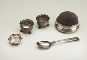 A selection of silver, including two Elkington & Co