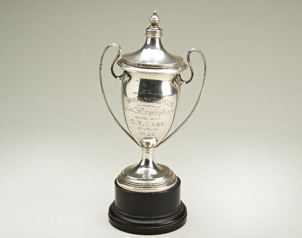An Adams style lidded silver trophy cup, London