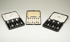 A cased set of silver coffee bean spoons by A.J. Bailey
