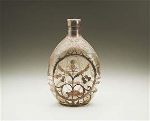 Haig Whiskey Bottle with thistle silver overlay design