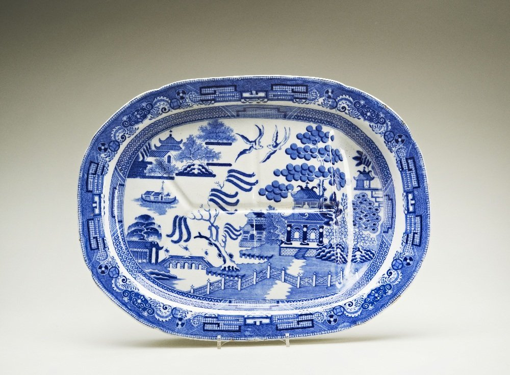 An early Victorian Staffordshire blue and white Willow