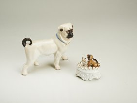 A Conta & Boehme c.1890 ceramic oval lidded pot, dog