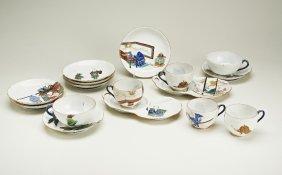 A Japanese porcelain handpainted part tea service