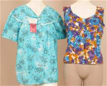 A collection of vintage blouses  A cotton turquoise