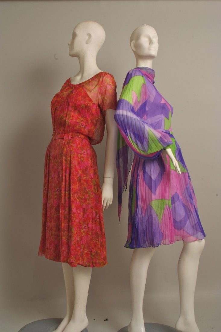 A collection of Couture Vintage Silk Chiffon Cocktail