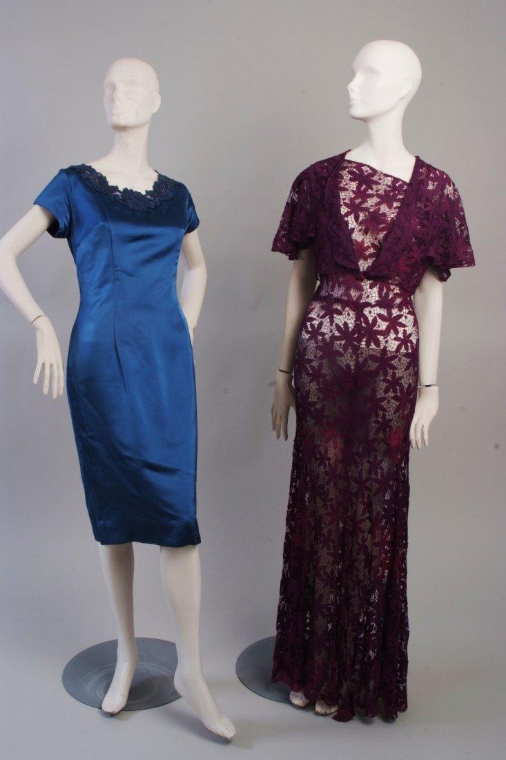 A 1950's Lace Bias Cut Dress with Bolero Jacket. A