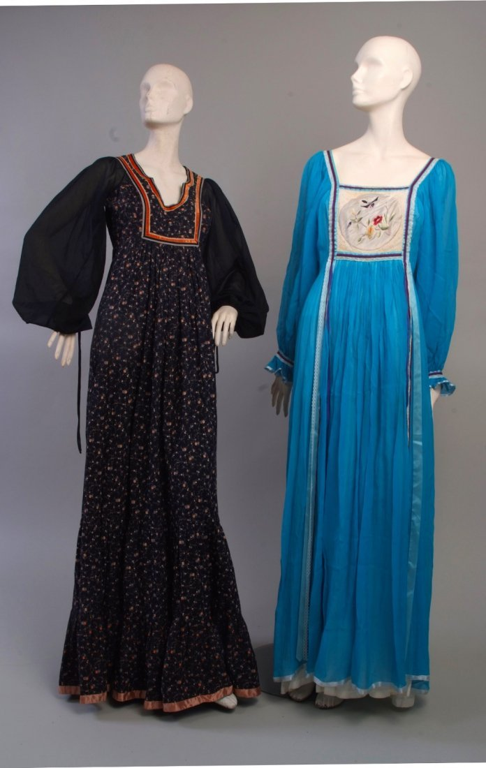 Two 1970's 'Rumak Sample' Couture Maxi Dresses.  The