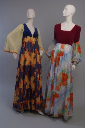 Two 1970's 'Valerie Goad' Couture Maxi Dresses.  To