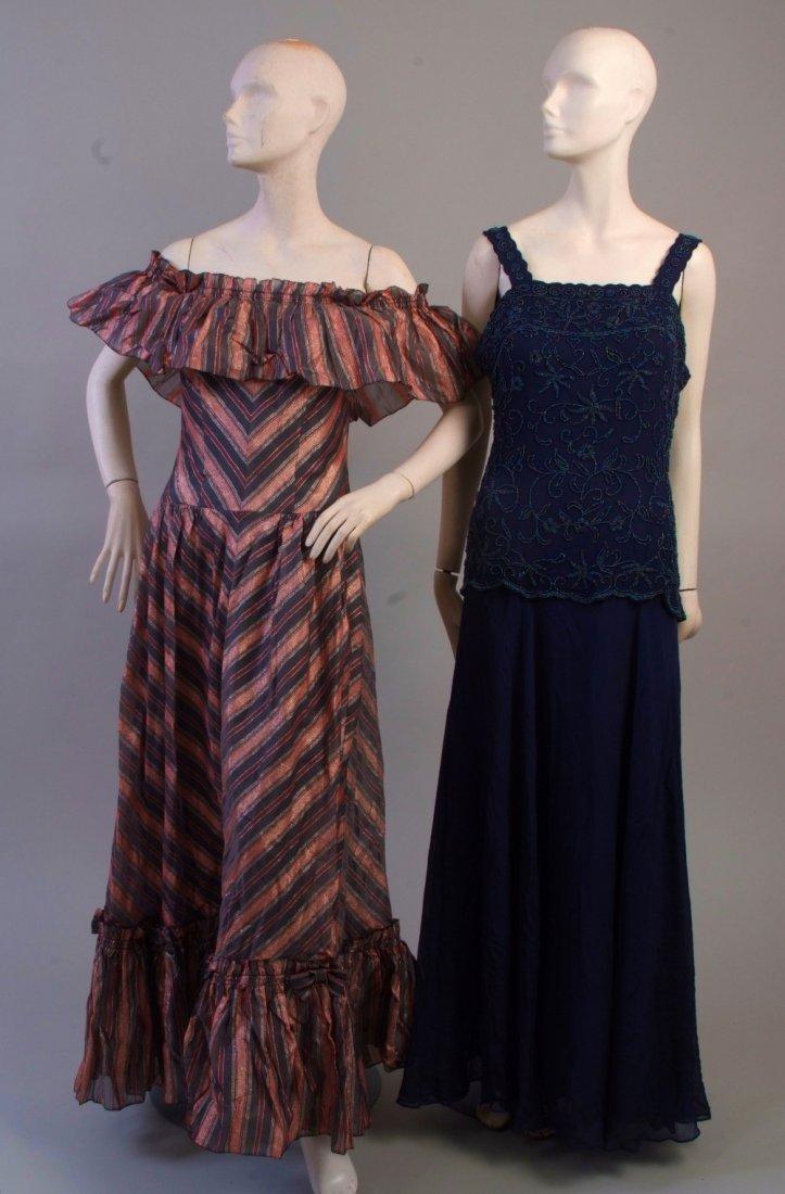 A 1970's Metallic Off the Shoulder Evening Dress.