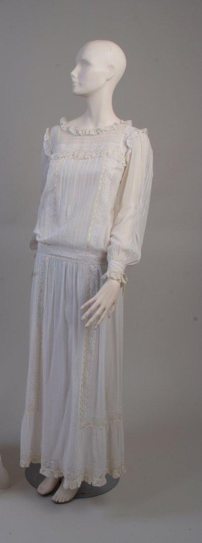 A 1960's 'Gina Fratini' White Cotton Dress.  A