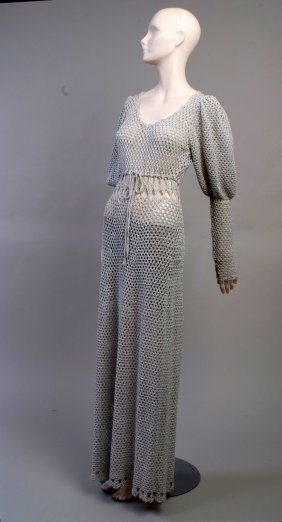 A 1970's Silver Knitted Dress.  Silver and grey knitted