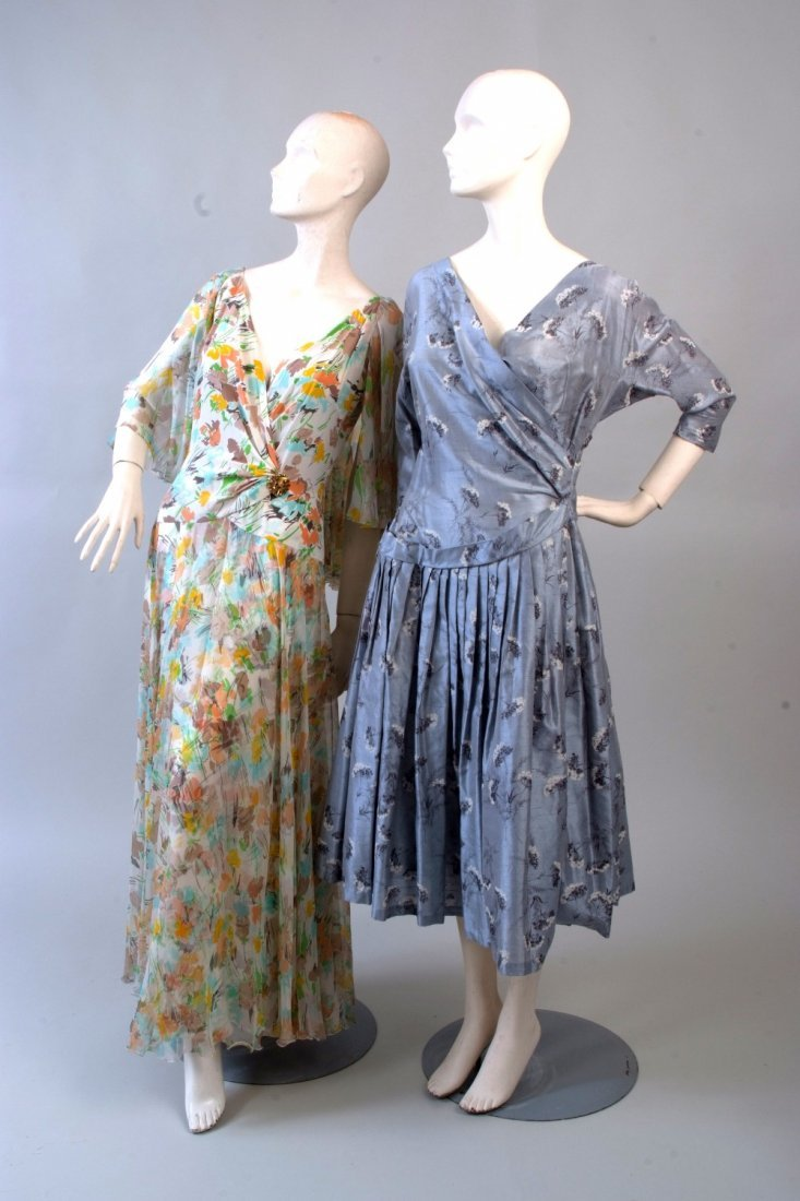 Two Silk Dresses.  A 1950's paper taffetta silk silver