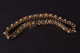 A 19th century gold and pearl bracelet, probably 14ct,